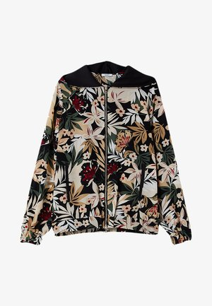 Zip-up hoodie - black with tropical print