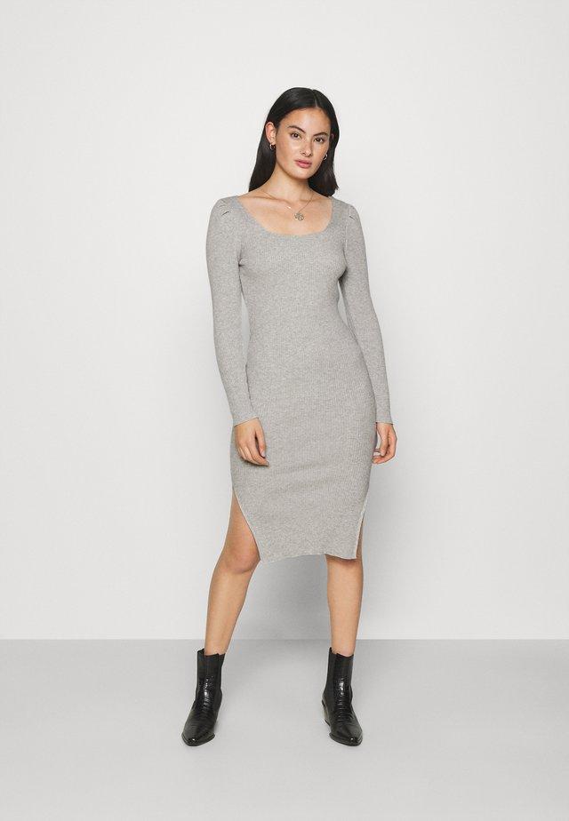 PUFF SLEEVE SQUARE NECK MIDI DRESS - Day dress - grey