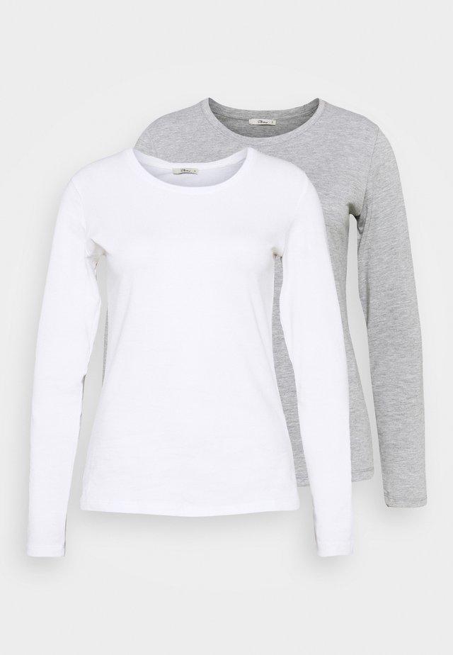JIRES 2 PACK - Top sdlouhým rukávem - white/grey