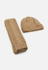 Barbour - CABLE BEANIE SCARF SET - Scarf - camel - 1