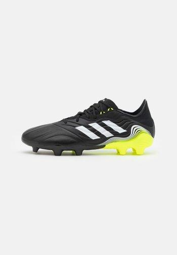 COPA SENSE.2 FG - Moulded stud football boots - core black/footwear white/solar yellow