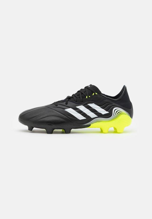 COPA SENSE.2 FG - Voetbalschoenen met kunststof noppen - core black/footwear white/solar yellow