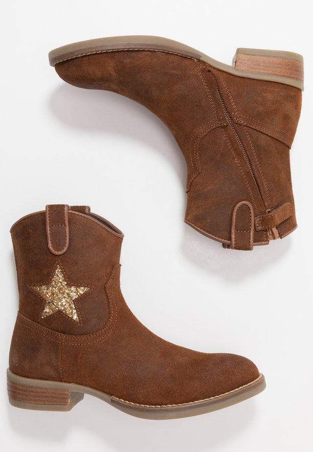 Cowboy/biker ankle boot - mid brown