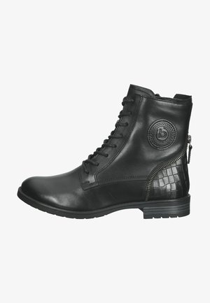 Lace-up ankle boots - black/reptile print