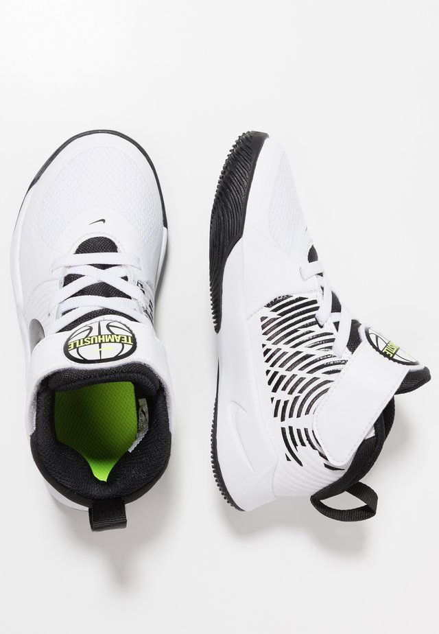 TEAM HUSTLE 9 UNISEX  - Basketball shoes - white/black/volt