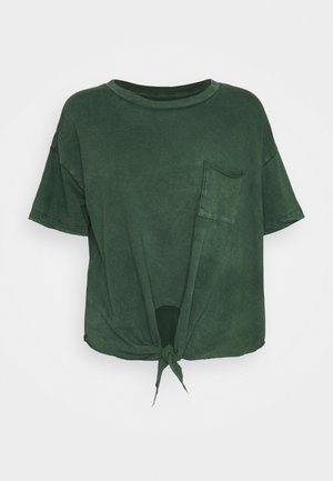 CROP TEE TIE FRONT - Basic T-shirt - sycamore