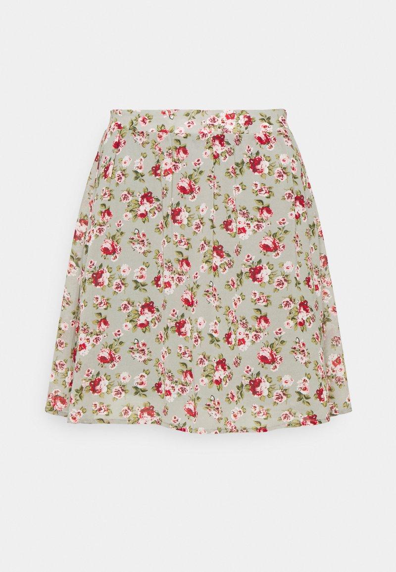 Vila - VIMILINA MINI SKIRT - Mini skirt - green milieu/red/pink