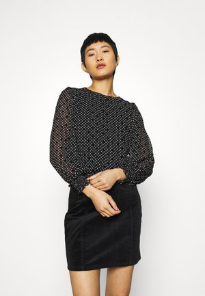 SHIRRED HEM FLORAL - Longsleeve - black