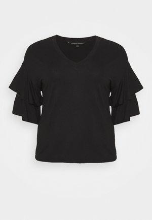 DROP SHOULDER FRILL - Print T-shirt - black
