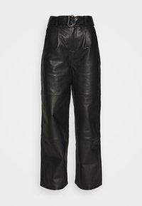 Deadwood - POPPY PANTS - Leather trousers - black - 4