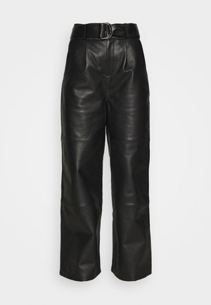 POPPY PANTS - Leather trousers - black