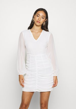 GATHERED BALLOON SLEEVE DRESS - Vestido de cóctel - white