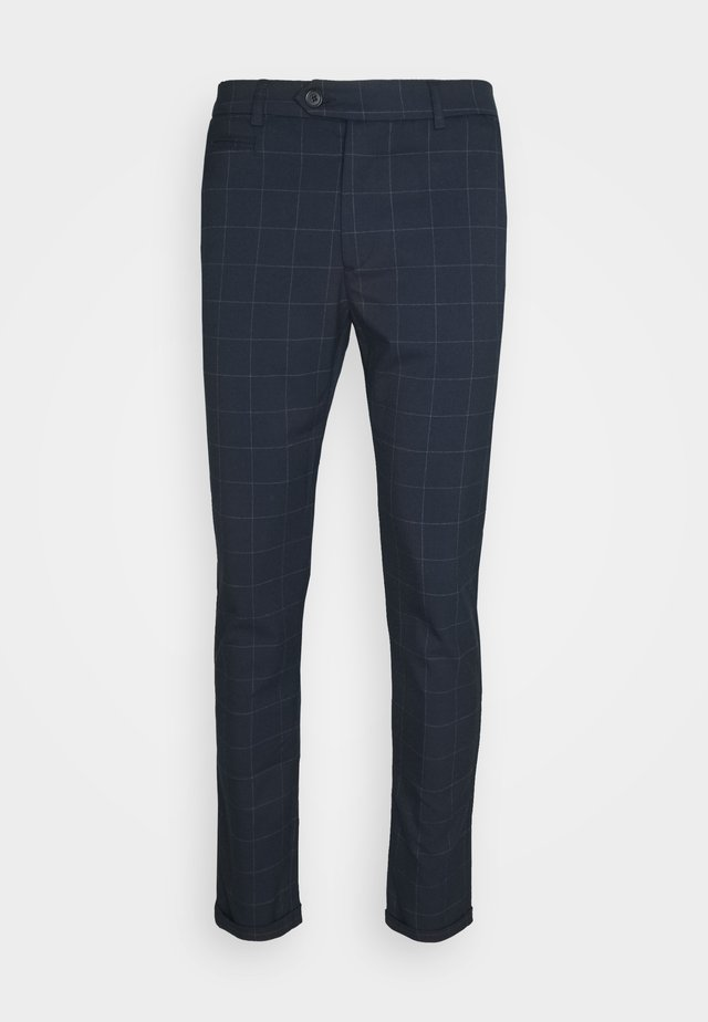 COMO CHECK SUIT PANTS - Trousers - dark navy/light grey melange