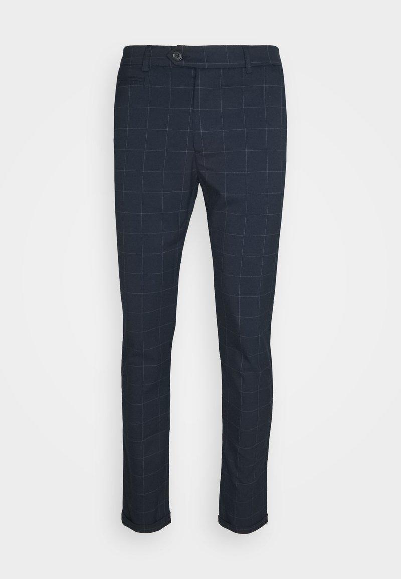 Les Deux - COMO CHECK SUIT PANTS - Trousers - dark navy/light grey melange