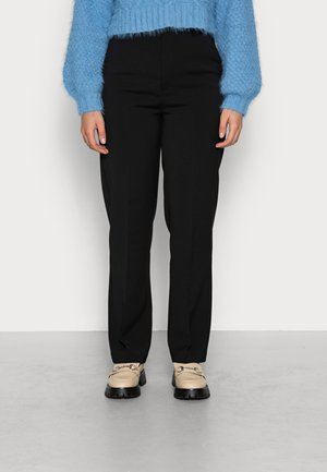 STRAIGHT WOVEN TROUSERS - Trousers - black