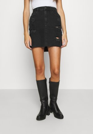 Denim skirt - black destroy