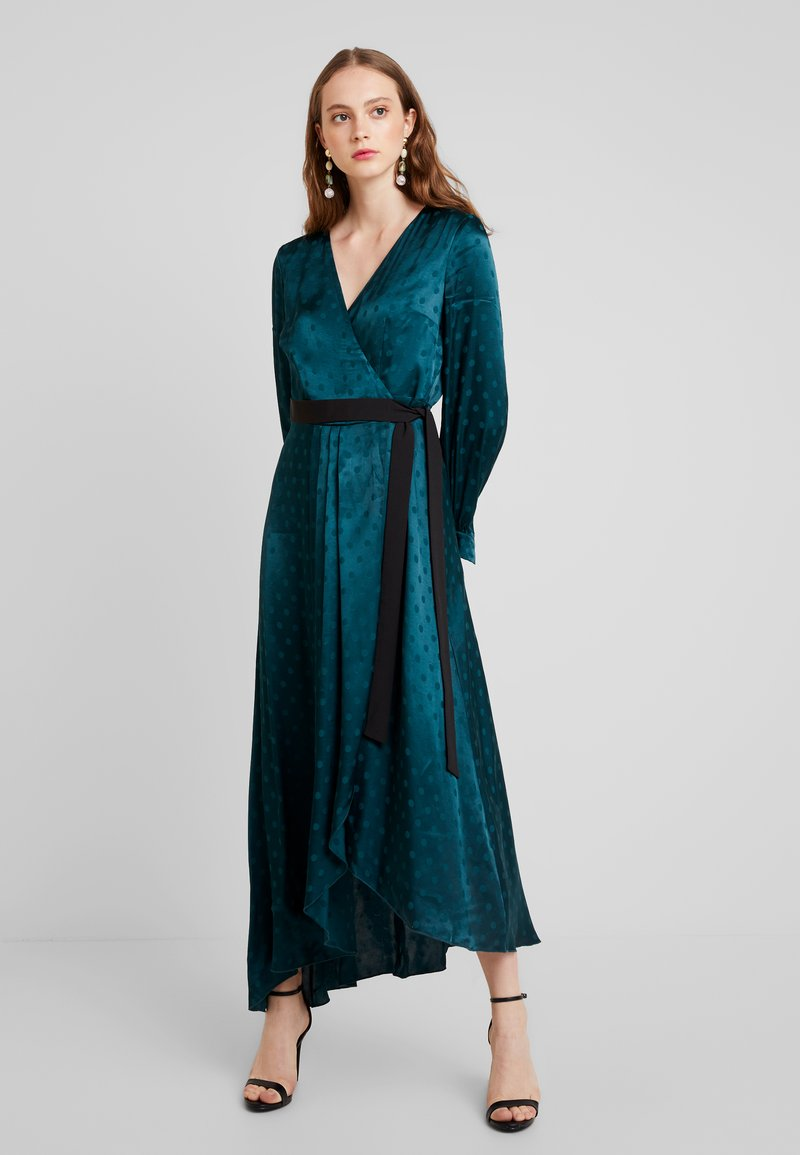 Little Mistress - TASMIN POLKA DOT ASYMMETRIC WRAP DRESS - Juhlamekko - green