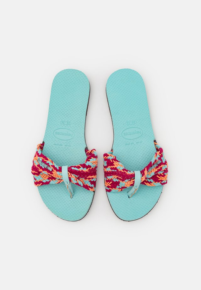 YOU TROPEZ  - T-bar sandals - sky blue