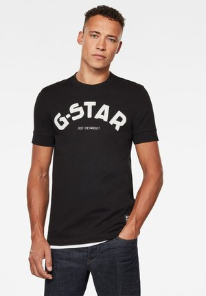 FELT APPLIQUE LOGO SLIM ROUND SHORT SLEEVE - T-shirt con stampa - dk black