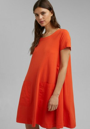 DRESS - Jersey dress - orange red
