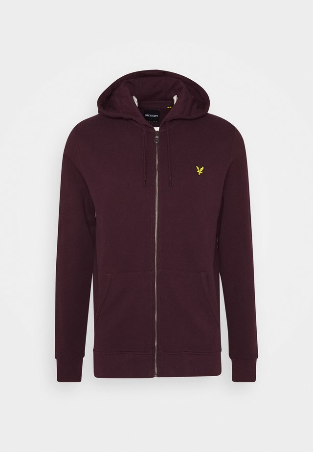 ZIP THROUGH HOODIE - veste en sweat zippée - burgundy