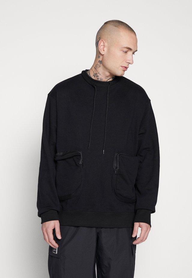 UTILITY POCKET WITH NECK CORD - Sweatshirt - black