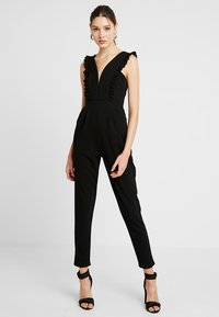 WAL G. - FRILL SLEEVE PLUNGE - Jumpsuit - black - 0