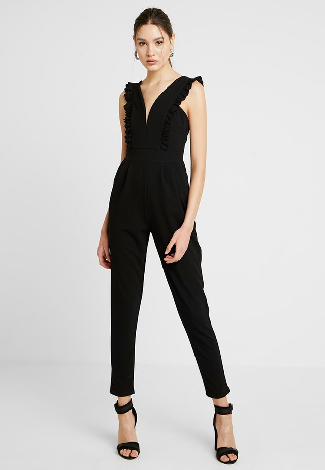FRILL SLEEVE PLUNGE - Jumpsuit - black