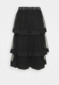 Maya Deluxe - TIERED WITH SEQUIN WAISTBAND - A-line skjørt - black - 1