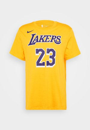 NBA LOS ANGELES LAKERS LEBRON JAMES NAME AND NUMBER TEE - Equipación de clubes - amarillo