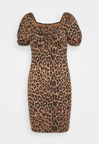 Missguided - PUFF SLEEVE TIE FRONT BODYCON DRESS - Pouzdrové šaty - brown - 0