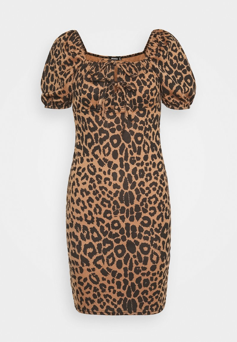 Missguided - PUFF SLEEVE TIE FRONT BODYCON DRESS - Pouzdrové šaty - brown