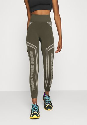 EVOSTRIPE EVOKNIT - Leggings - forest night