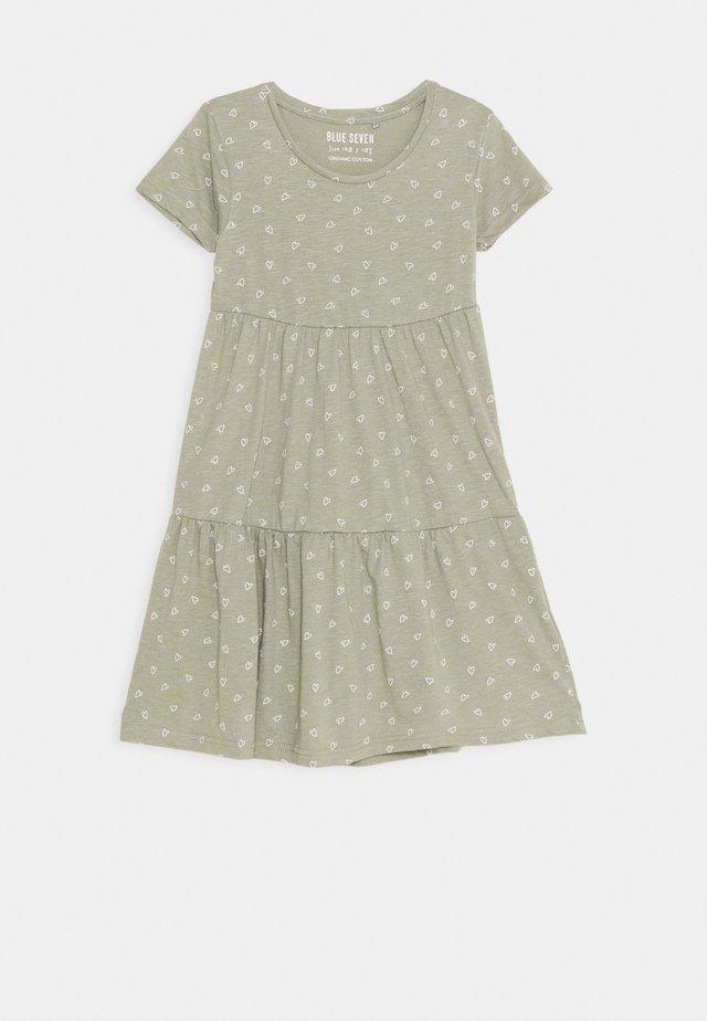 TEEN GIRL DRESS HEARTS - Jerseykleid - khaki