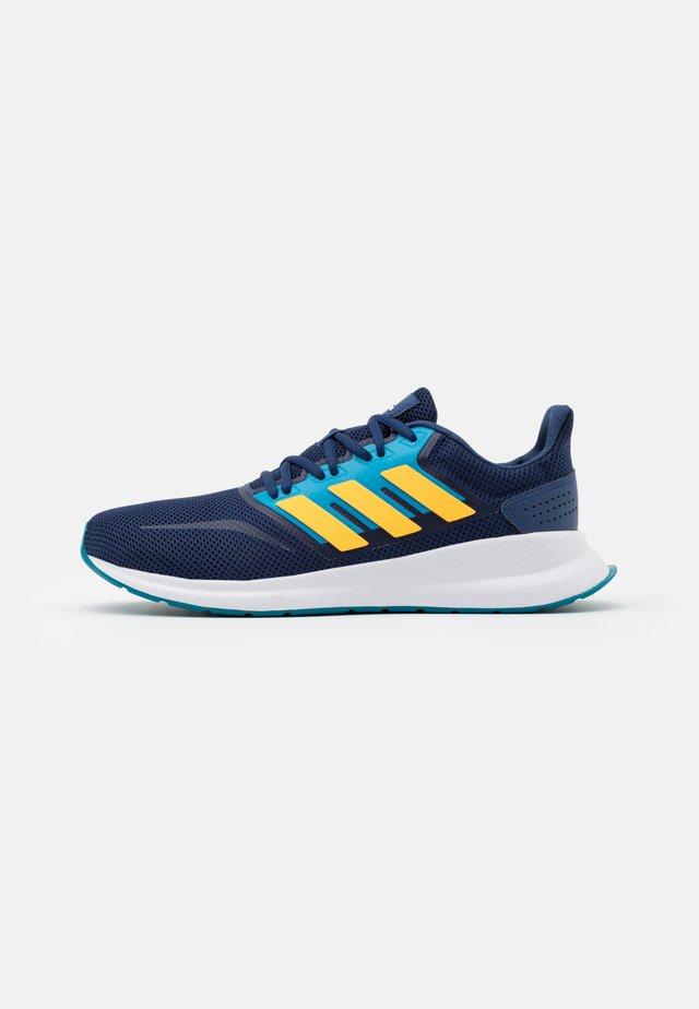RUNFALCON - Neutral running shoes - tech indigo/solar gold/signal cyan