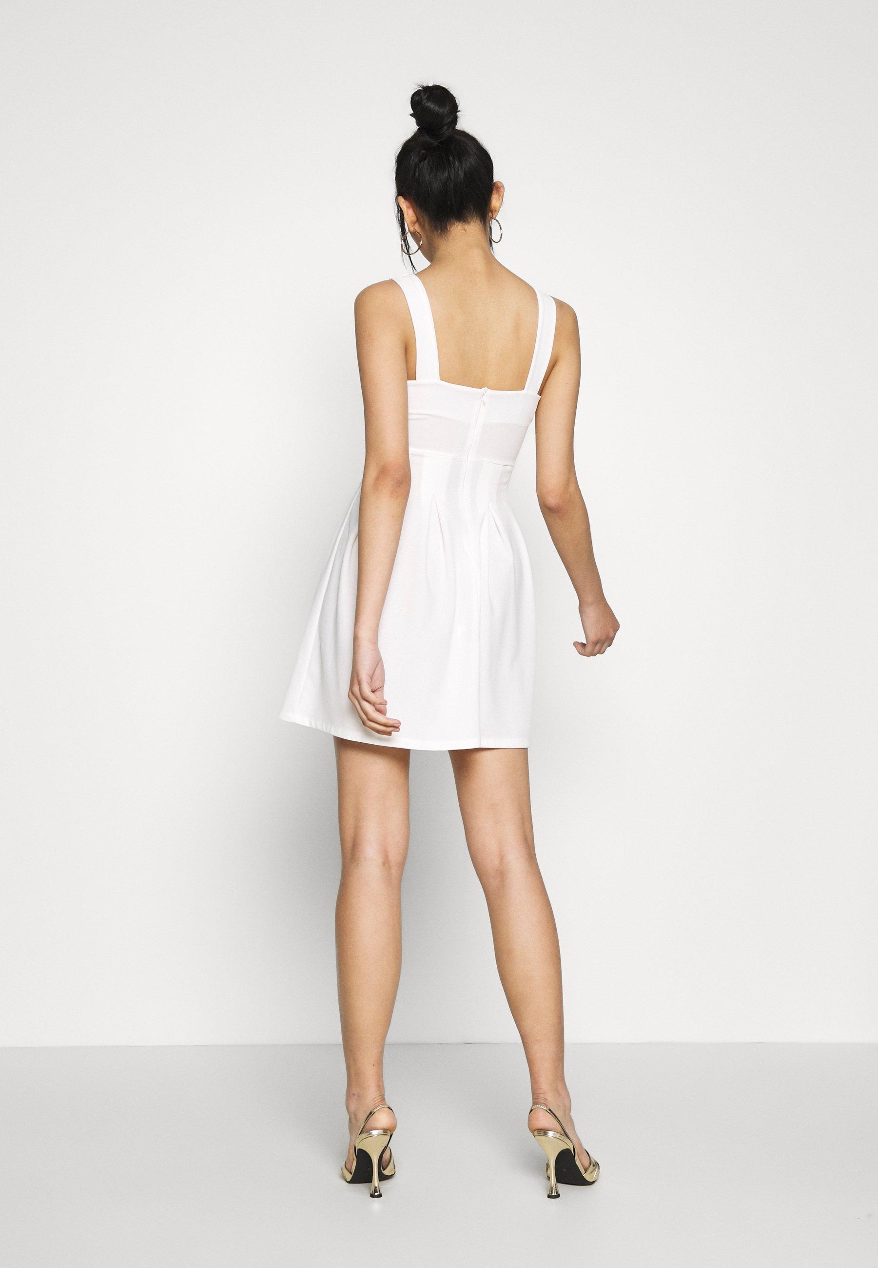 WAL G. TOP MINI DRESS Jerseykleid white/weiß