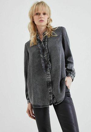 Button-down blouse - gris clair