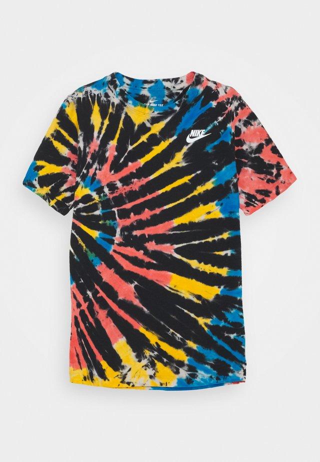 TEE TIE DYE UNISEX - Camiseta estampada - black/bright crimson/laser orange/white