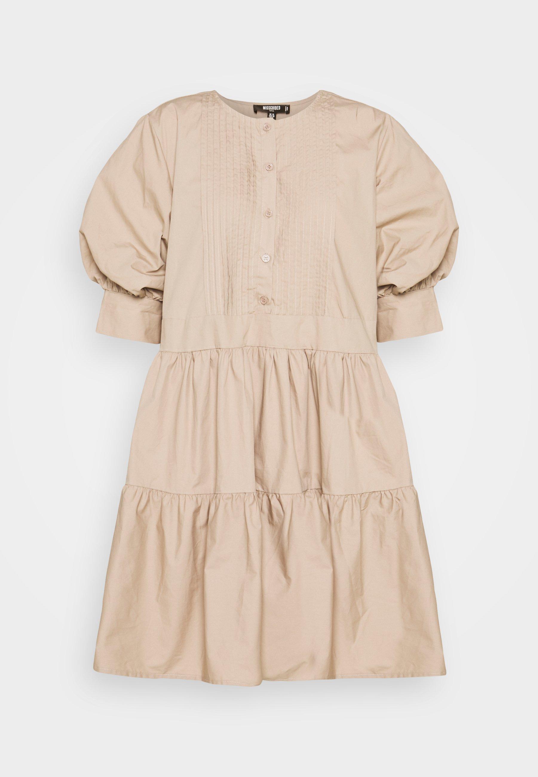 Women PLEAT FRONT PUFF SLEEVE SMOCK DRESS - Day dress