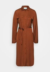 LONG SLEEVES COLLAR PATCH POCKETS SLITS IN  - Shirt dress - bricklane