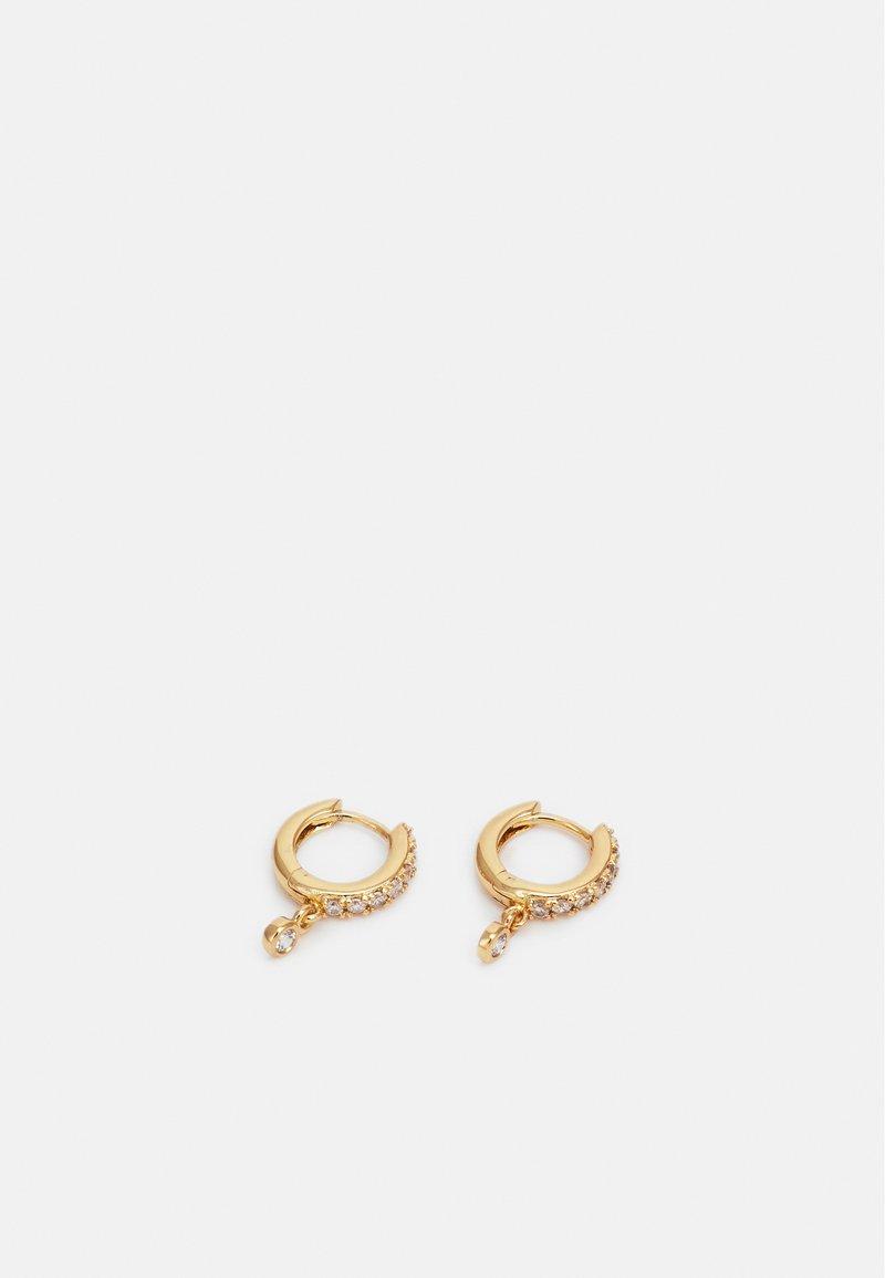 Orelia - PAVE DROP HUGGIE HOOP - Earrings - gold-coloured