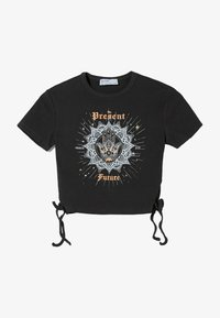 Bershka - MIT SCHNÜRUNG - Print T-shirt - dark grey - 5