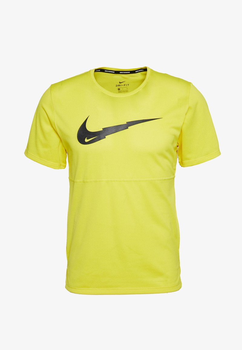 Nike Performance - BREATHE RUN - Camiseta estampada - opti yellow/dark smoke grey