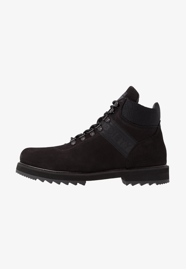 PEARY LOGO HIKER - Lace-up ankle boots - black