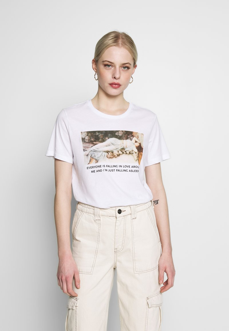 Even&Odd - HATTIE FALLING  - T-shirt print - white