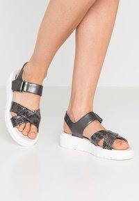 Geox - TAMAS - Platform sandals - dark grey/taupe - 0