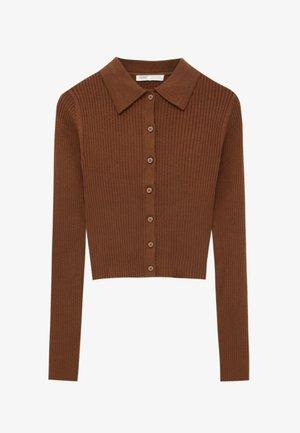 Cardigan - mottled brown