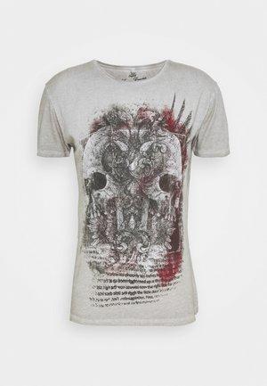 TRACK ROUND - Camiseta estampada - silver