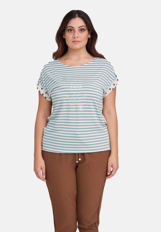 A RIGHE E POIS - T-shirt con stampa - beige