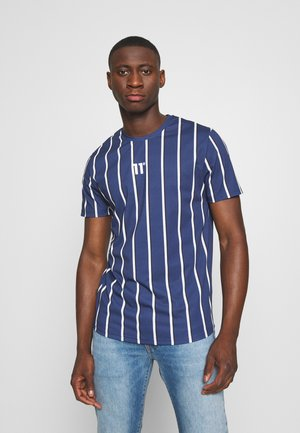 VERTICAL STRIPE TEE - Print T-shirt - navy/white